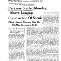 Parkway Started Monday Above Lowgap